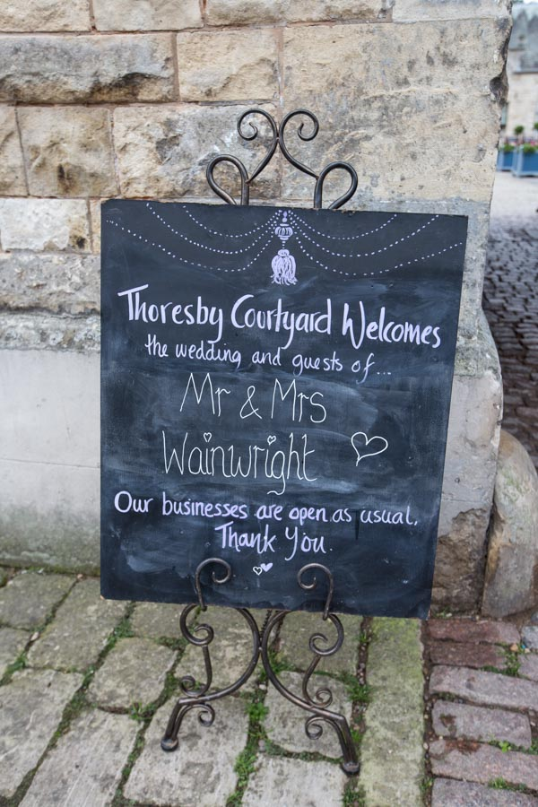 Chalkboard sign outside thoresby courtyard