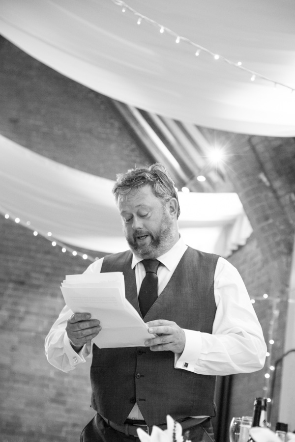Godfather of the bride giving his speech at Thoresby courtyard wedding