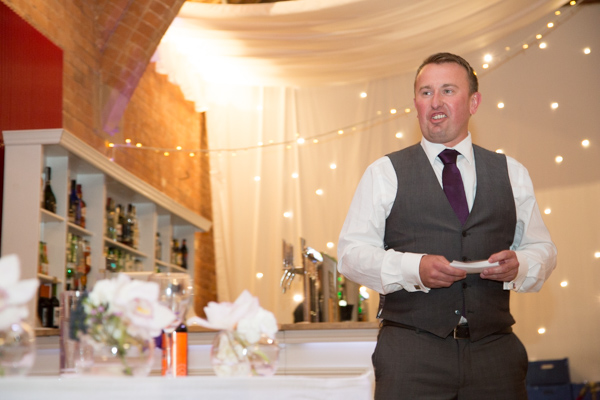 Best man giving his speech during the wedding breakfast