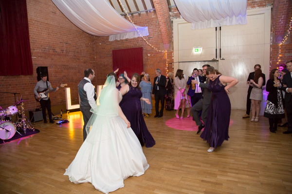 WEdding guests dancing during the evening reception