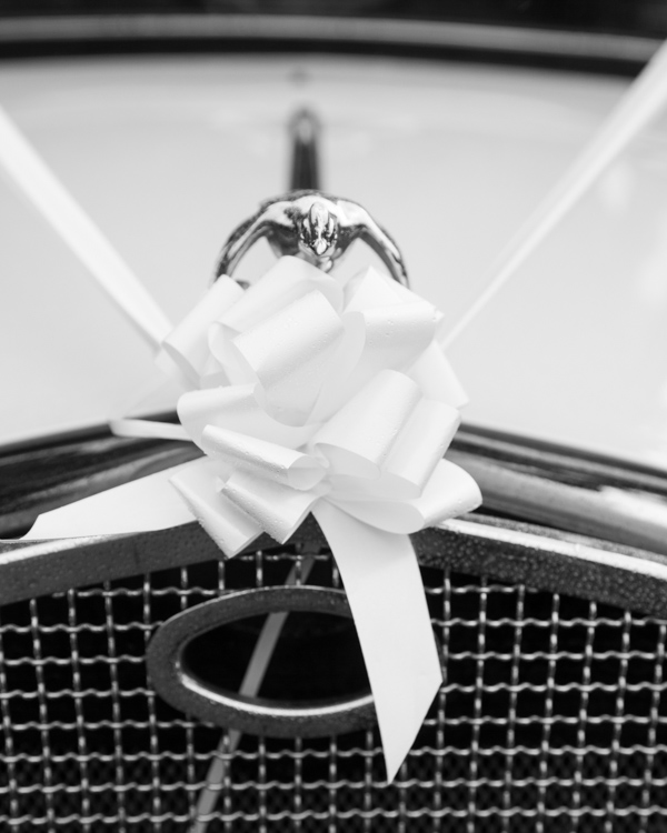 Front of the wedding car showing wedding ribbon