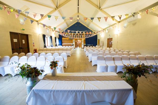 Bradfield village hall set up for a wedding ceremony