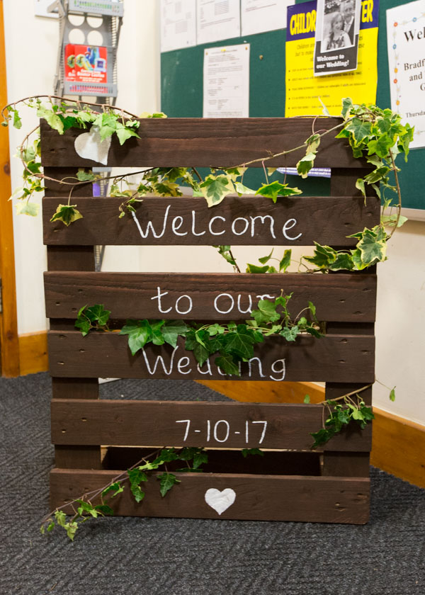 Welcome to our wedding sign on wooden pallet decorated with green ivy
