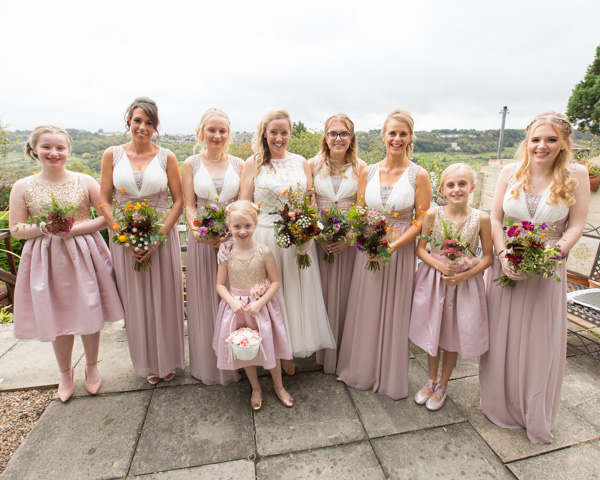 Bridal party in the Birdes back garden with views over Bradfield on the morning of the wedding