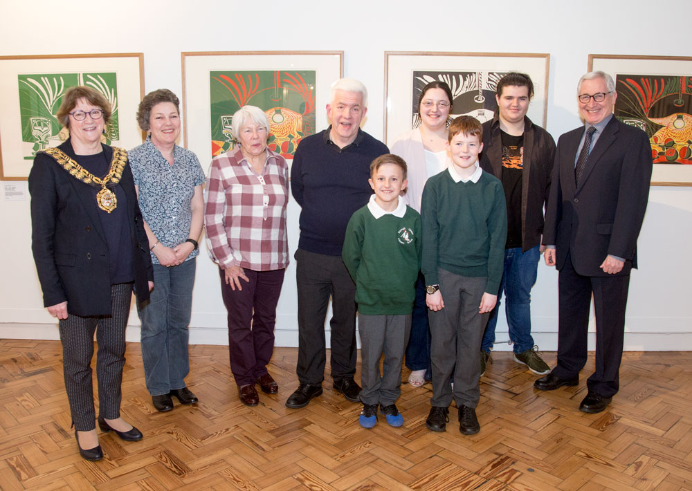 Hear my voice poetry competiti0n winners with judges in front of Picasso Linocuts The Civic Barnsley