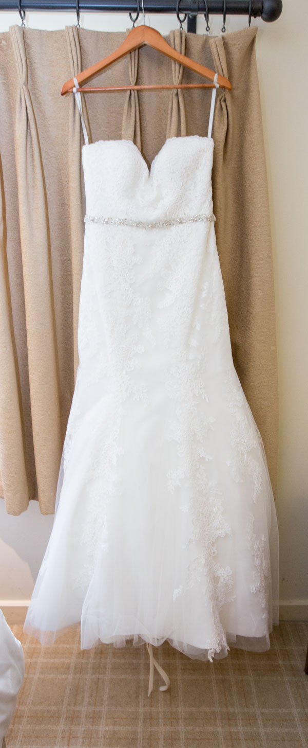 Wedding dress before it's worn at Tankersley Manor wedding