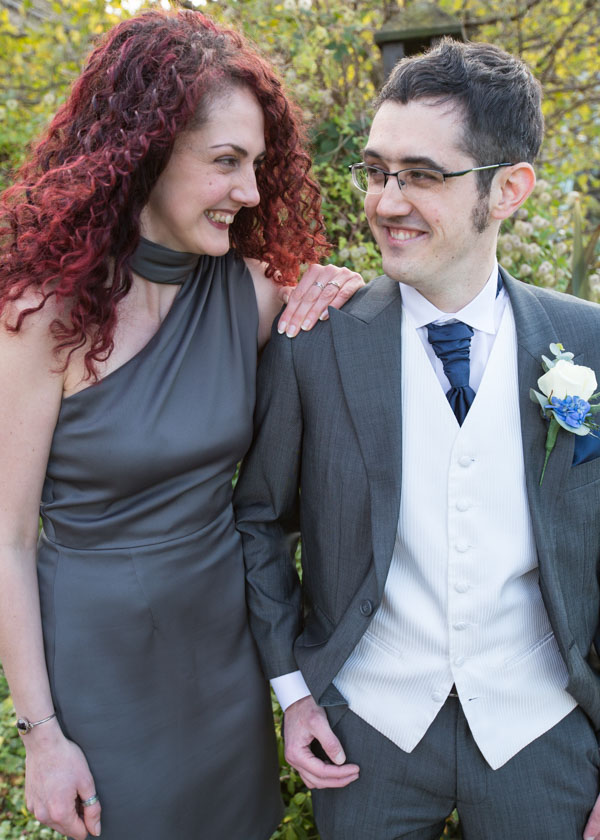Groom with his sister outside Tankersley manor at his wedding