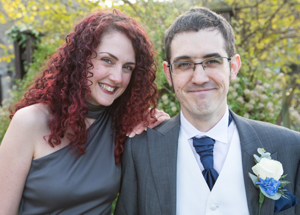 Groom with his sister outside tankersley manor hotel barnlsey