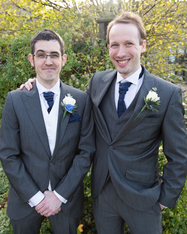 Groom with his best man outside Tankersley manor on the morning of his wedding