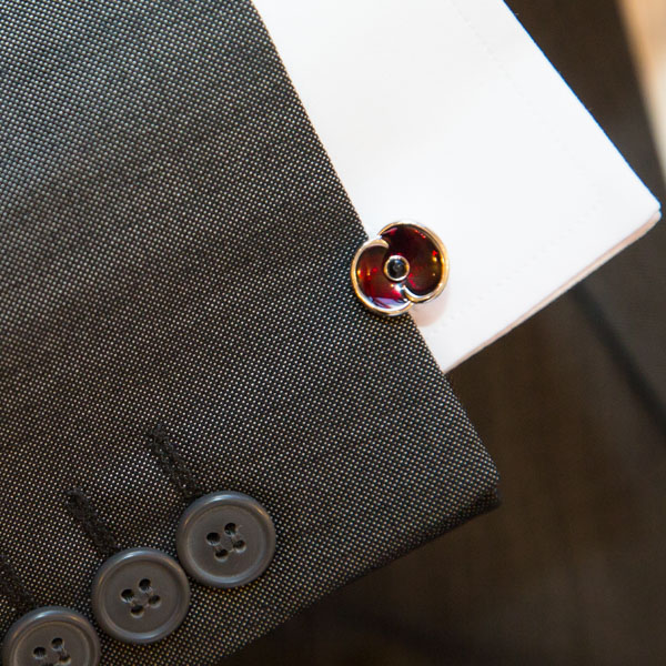 Poppy cufflink for armistice day wedding