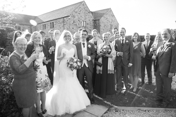 Wedding party outside Tankersley Manor Hotel after the wedding ceremony