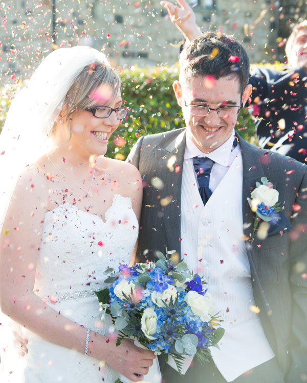 Confetti photograph at tankersley Manor hotel