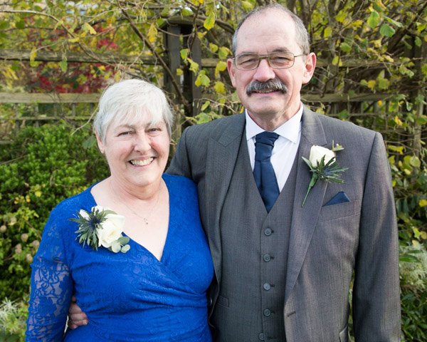 Mother and Father of the Greoom on his wedding day at Tnakersley Manor