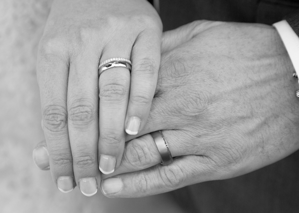 Bride and Groom hands wearing wedding rings