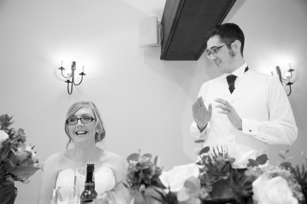 Groom giving his speech at Tankersley Manor Hotel