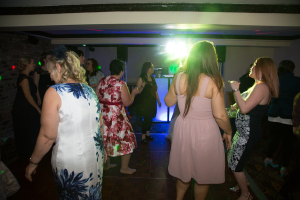 Guests dancing at a wedding reception Tankersley Manor