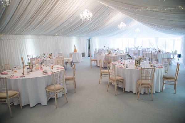 The wedding breakfast room at Priory Barn and Cottages