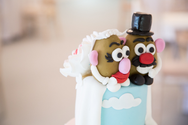Mr & Mrs potato head cake topper by quite contrary cakes