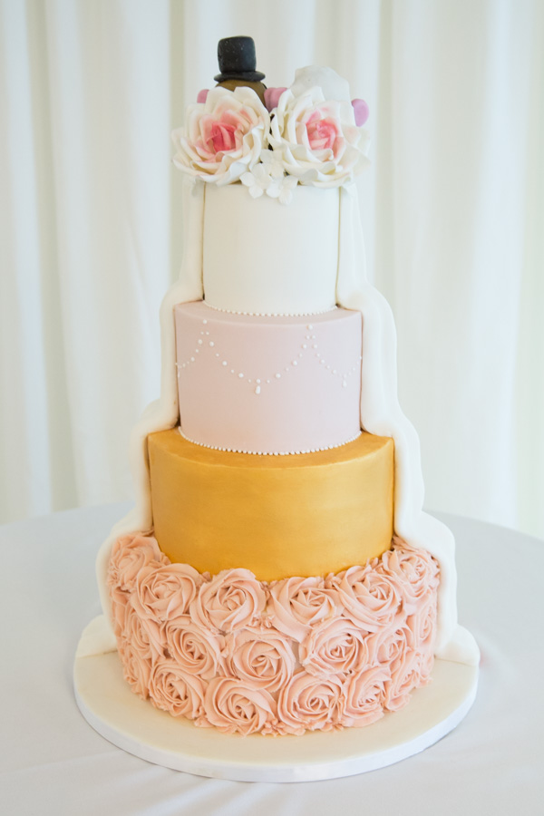 Traditional wedding cake in pink and Gold by Quite contrary wedding cakes