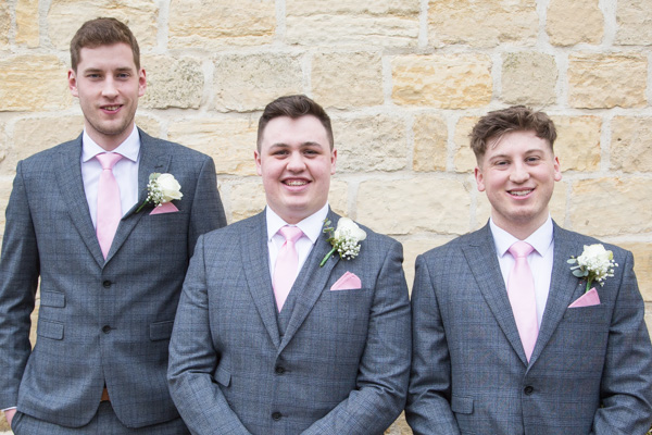 Groom with Groomsmen outside the wedding venue wetherby