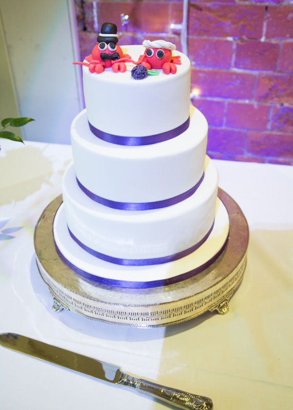 Wedding cake with lobsters on top Thoresby Courtyard Wedding