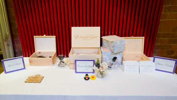 Wedding gift table with guest book and wooden boxes Thoresby Courtyard Wedding