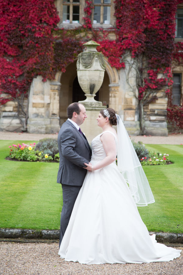 Bride and Groom looking at each other outside Thoresby Hall