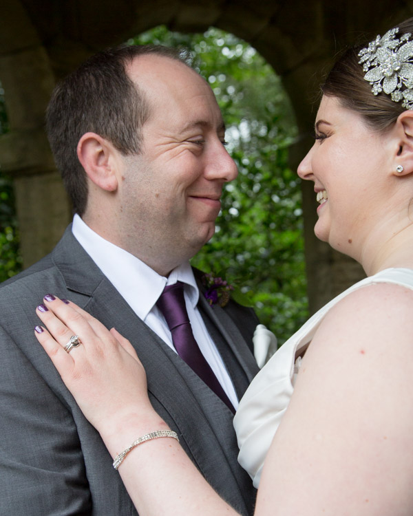 Bride showing off her engagement ring at Thoresby Hall wedding