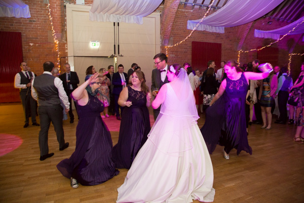 Wedding guests dancing during the evening reception at Thoresby Courtyard