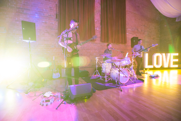 The Kickstarts band playing at Thoresby Courtyard Wedding