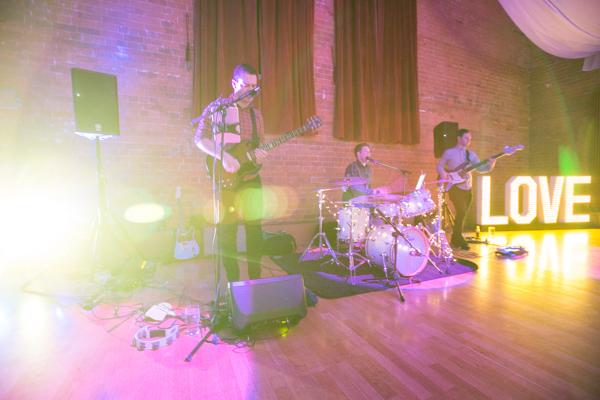 The Kickstarts band playing at Thoresby Courtyard Wedding