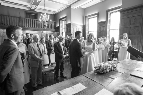 Wedding ceremony at Cannon Hall in black and white
