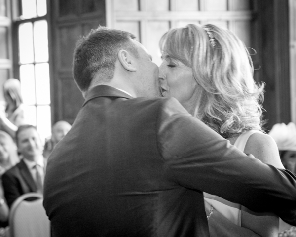 Bride and Groom kiss after they have been declared a married couple at Cannon Hall