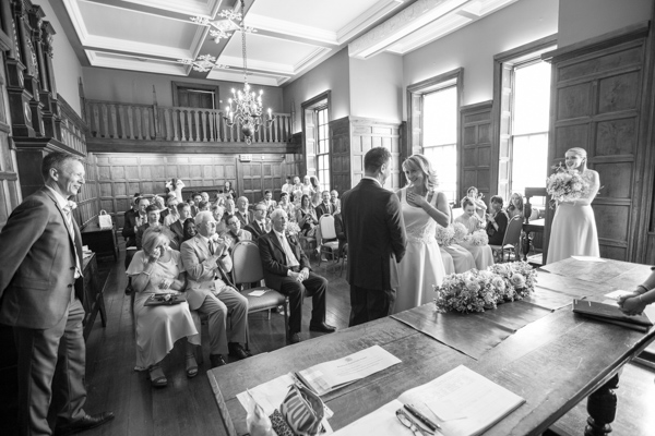 Bride, Groom and guests during the wedding ceremony at Cannon Hall.