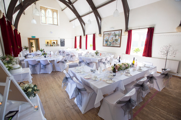 Cawthorne Village Hall decorated for a wedding breakfast
