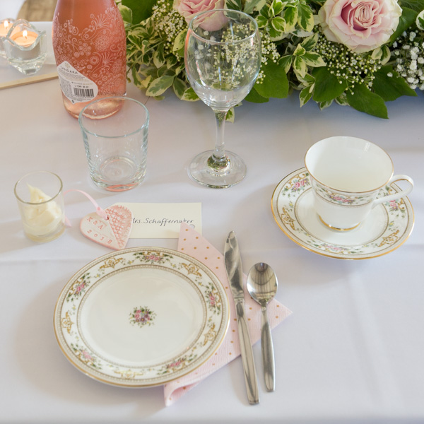 Cutlery and Crockery on wedding breakfast table with nametag