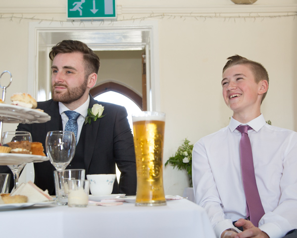Children of the bride and groom during the speeches at Cawthorne Village Hall