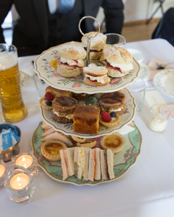 Cake stand containing the afternoon tea at Cawthorne Village Hall