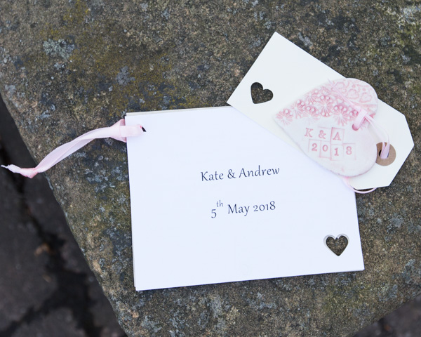 Ceramic wedding favor in the shape of a heart at Cawthorne Village Hall