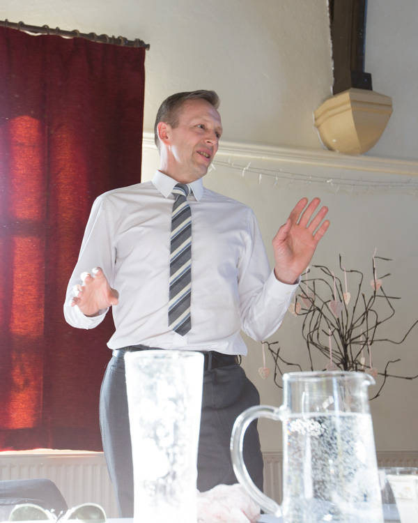 Best man giving a speech at Cawthorne Village Hall