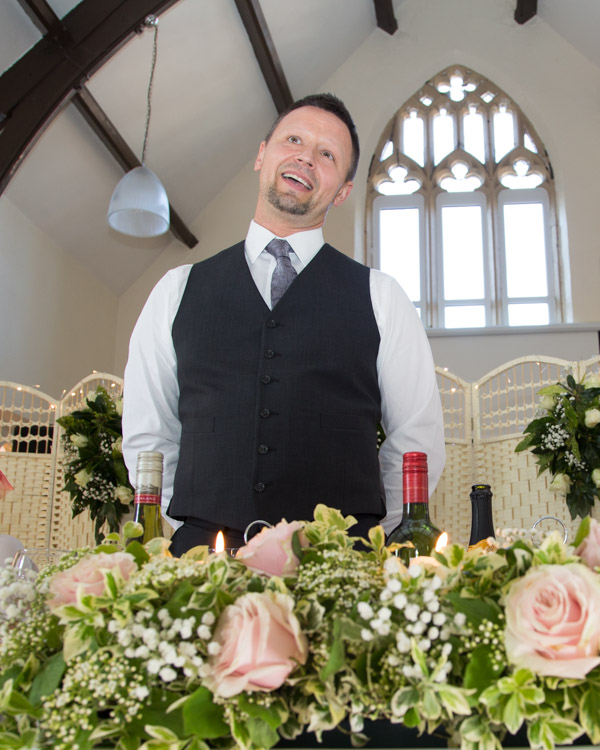 Groom giving a speech at Cawthorne Village Hall