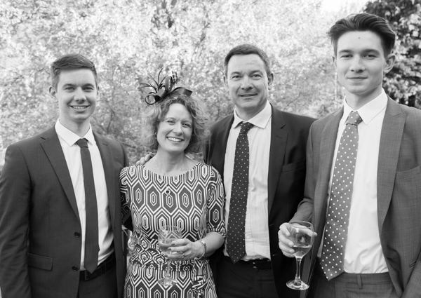 Guests outside in black and white at Cawthorne Village Hall
