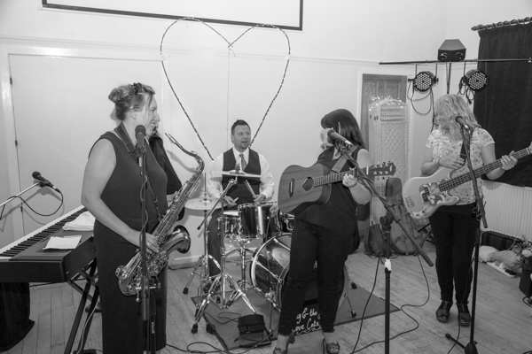 Andy and the Love cats playing at Cawthorne village hall