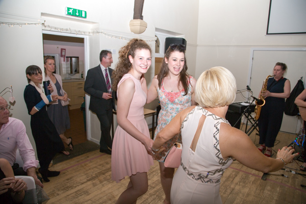 Wedding guests on the dancefloor at Cawthorne Village Hall