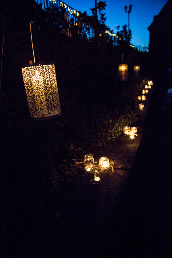 Candles in jars lighting the evening at Cawthorne Village Hall