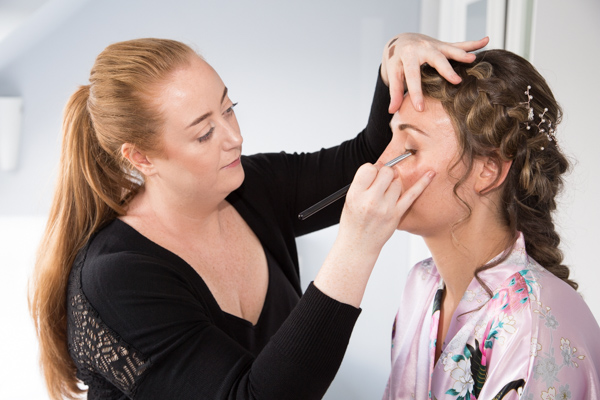 Bride having her makeup done on the morning of the wedding photography Barnsley