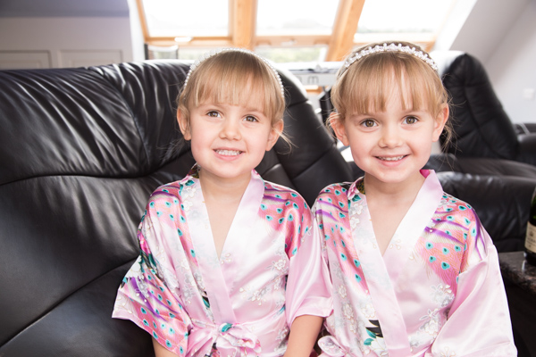 Twin bridesmaids with matching robes