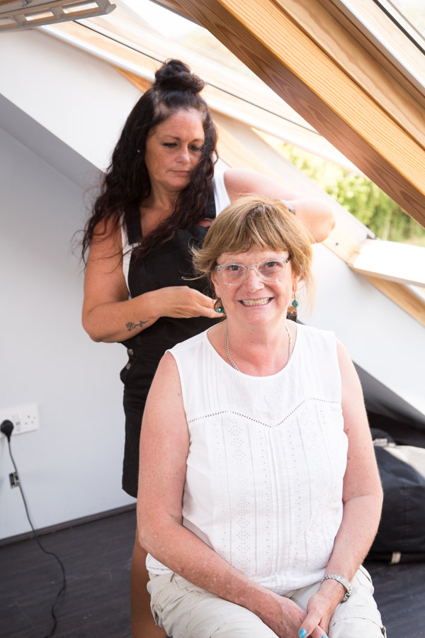 Mother of the Bride having her hair done on the morning of the wedding photography Barnsley