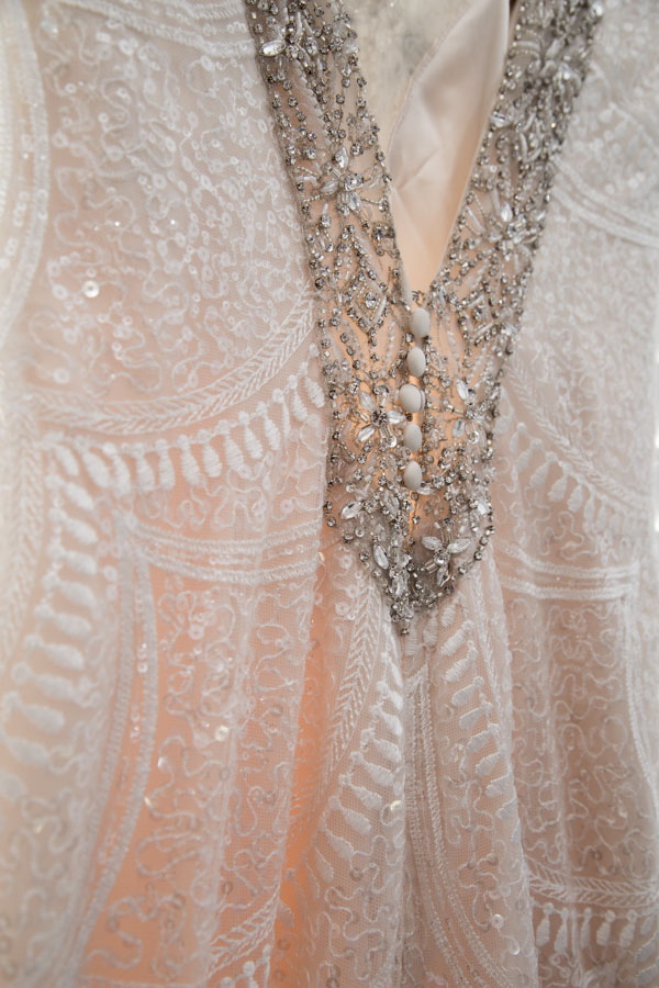Bead detail on the wedding dress