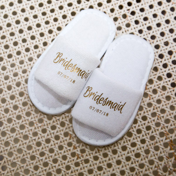 Personalised bridesmaid slippers Barnsley wedding photography